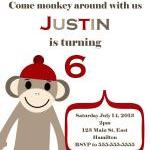 Sock Monkey Birthday Party Invitati..