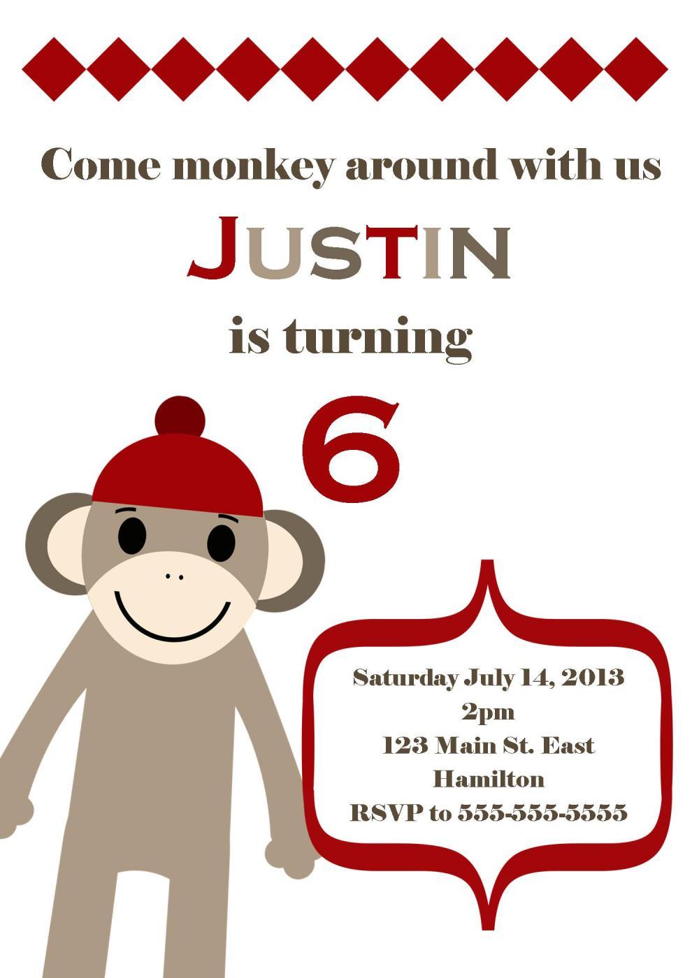 Sock Monkey Birthday Party Invitation - Girl Or Boy - Printable on ...
