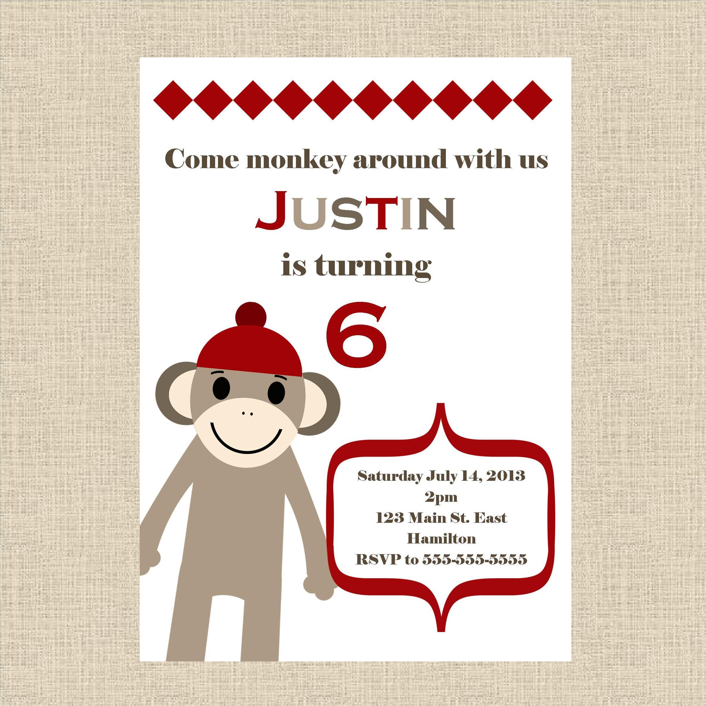 FREE SHIPPING Sock Monkey Birthday